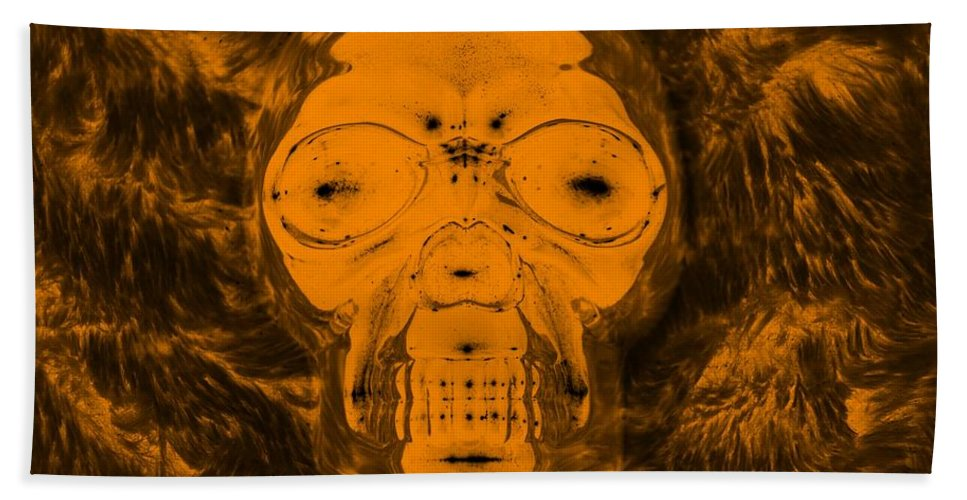 Skull Hand Towel featuring the photograph Skull In Negative Orange by Rob Hans