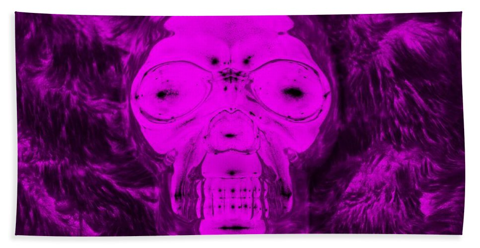 Skull Hand Towel featuring the photograph Skull In Negative Purple by Rob Hans
