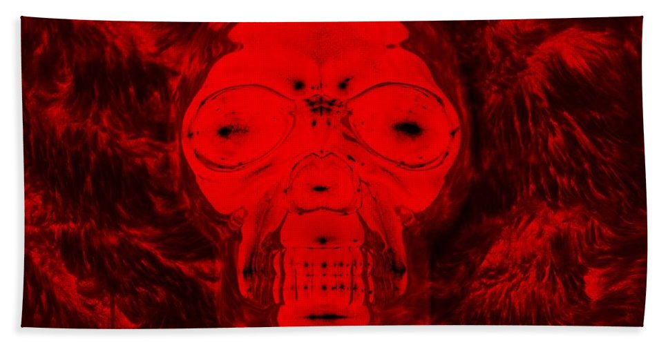 Skull Hand Towel featuring the photograph Skull In Negative Red by Rob Hans