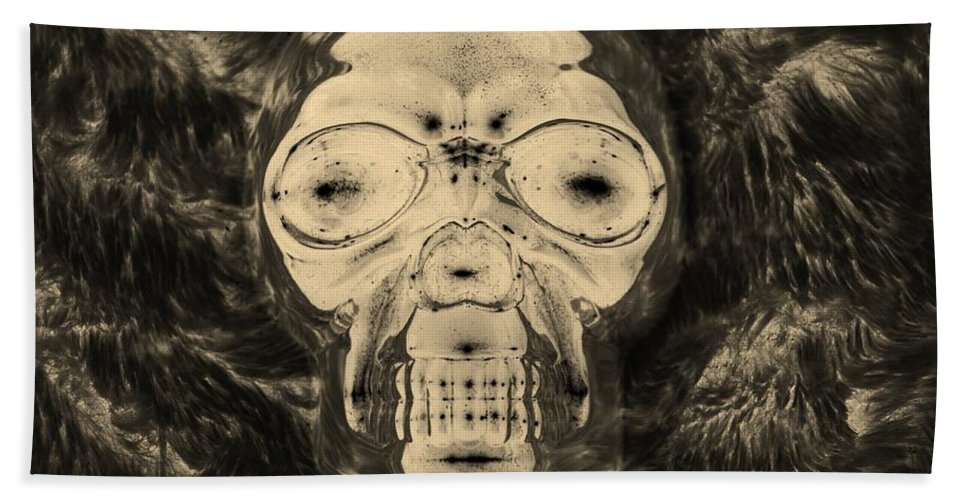 Skull Hand Towel featuring the photograph Skull In Negative Sepia by Rob Hans