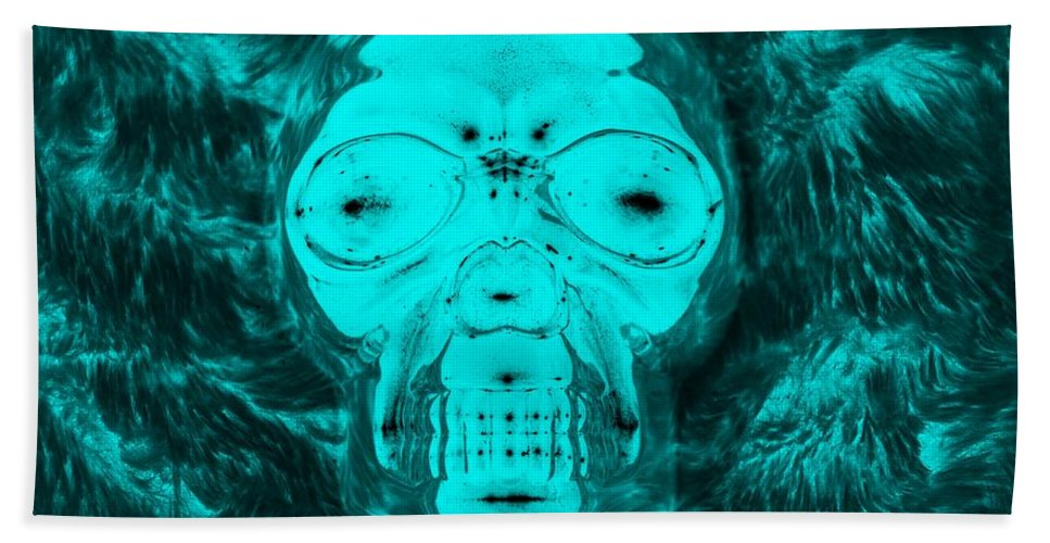 Skull Bath Sheet featuring the photograph Skull In Negative Turquois by Rob Hans