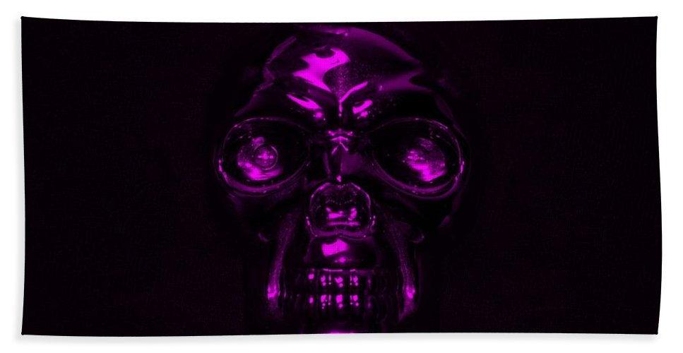 Skull Hand Towel featuring the photograph Skull In Purple by Rob Hans