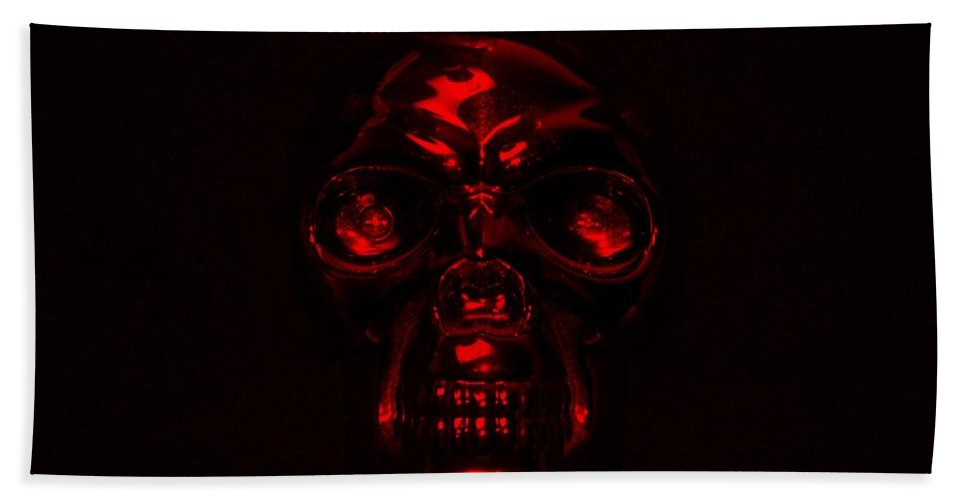 Skull Hand Towel featuring the photograph Skull In Red by Rob Hans