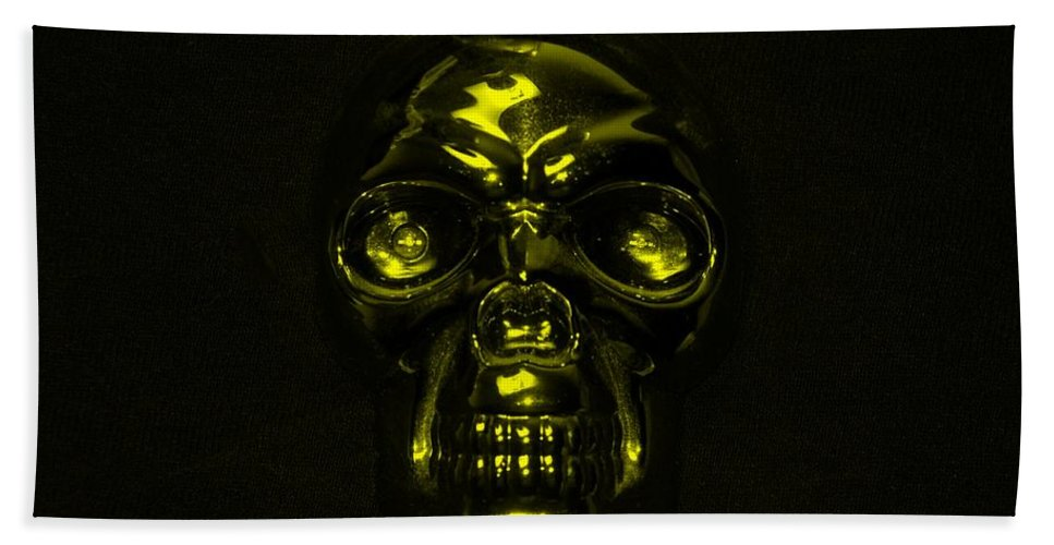 Skull Bath Sheet featuring the photograph Skull In Yellow by Rob Hans