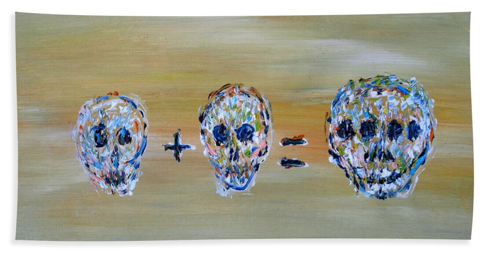 Skull Hand Towel featuring the painting Skull Mathematics by Fabrizio Cassetta