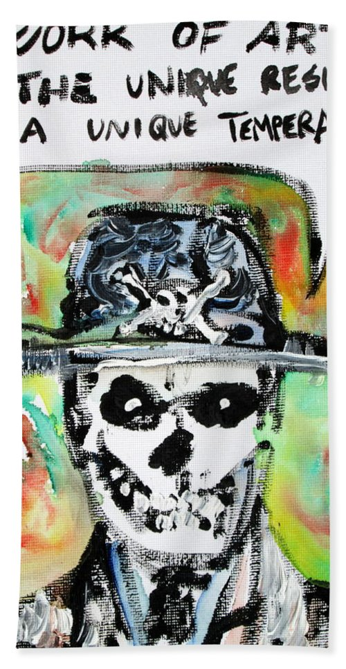 Skull Hand Towel featuring the painting Skull Quoting Oscar Wilde.1 by Fabrizio Cassetta
