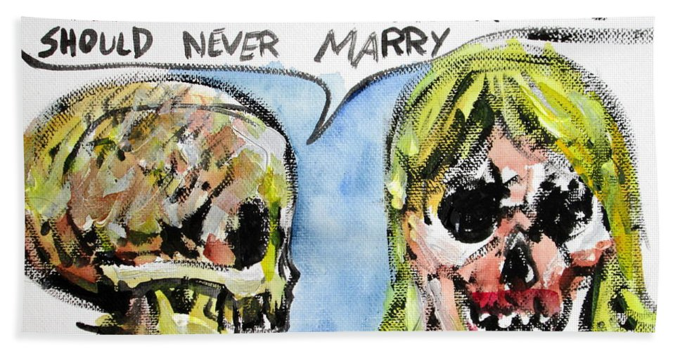 Skull Hand Towel featuring the painting Skull Quoting Oscar Wilde.5 by Fabrizio Cassetta