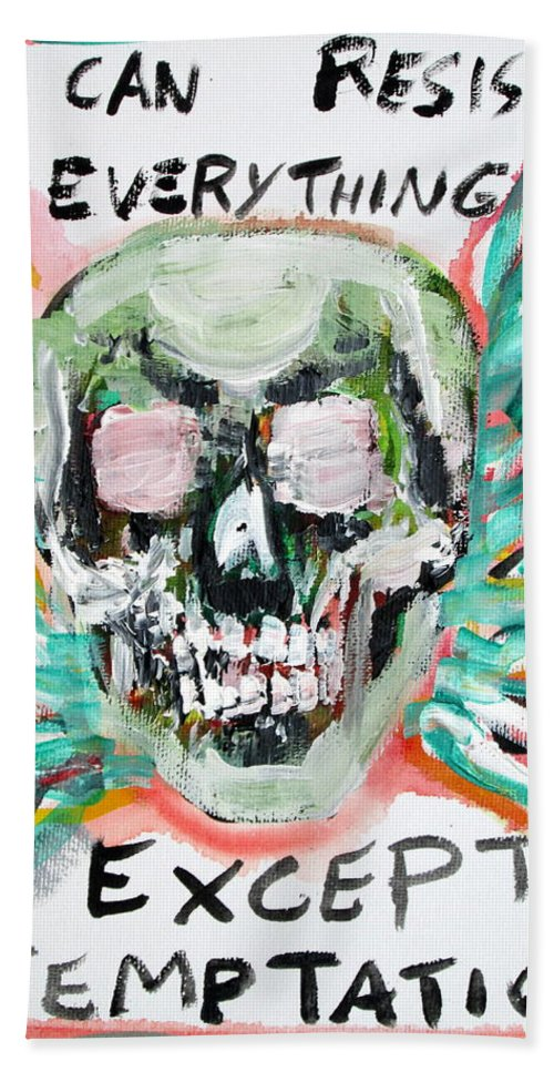 Skull Bath Sheet featuring the painting Skull Quoting Oscar Wilde.7 by Fabrizio Cassetta