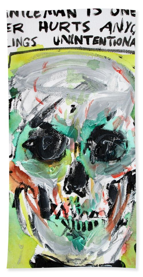 Skull Bath Sheet featuring the painting Skull Quoting Oscar Wilde.8 by Fabrizio Cassetta