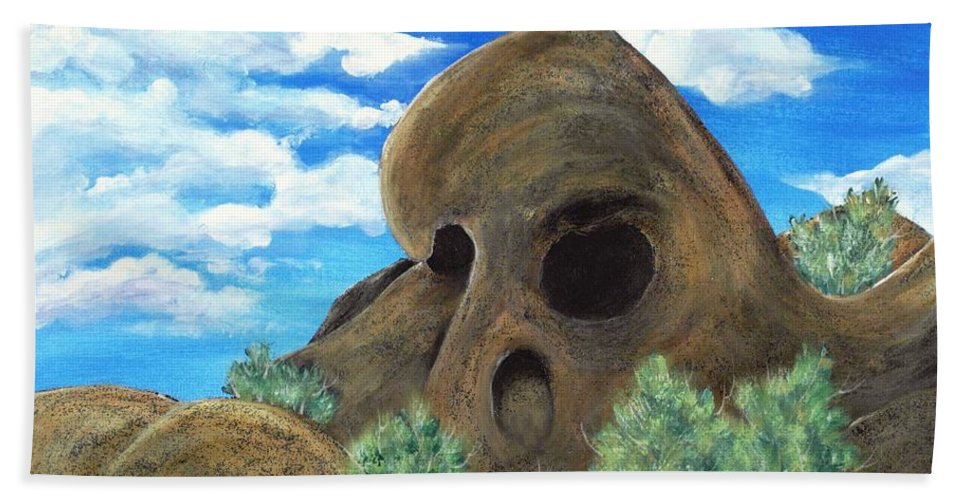 Malakhova Bath Towel featuring the painting Skull Rock by Anastasiya Malakhova