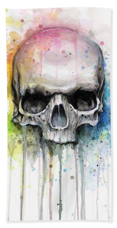 Skull Bath Towel featuring the painting Skull Watercolor Painting by Olga Shvartsur