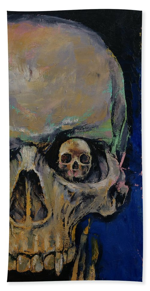 Art Bath Sheet featuring the painting Vampire Skull by Michael Creese