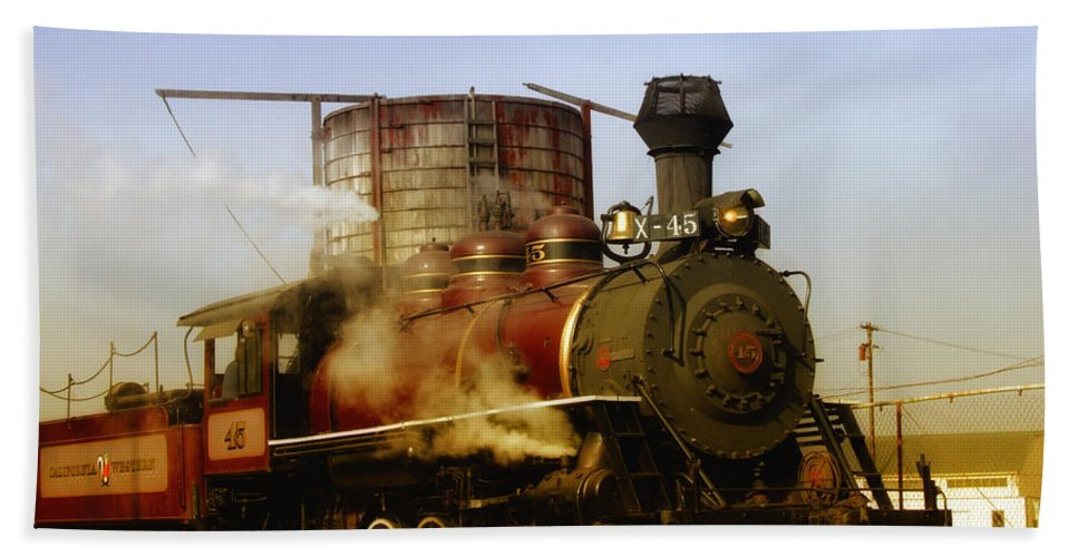 Mendocino Skunk Train Bath Sheet featuring the photograph Skunk Train by Donna Blackhall