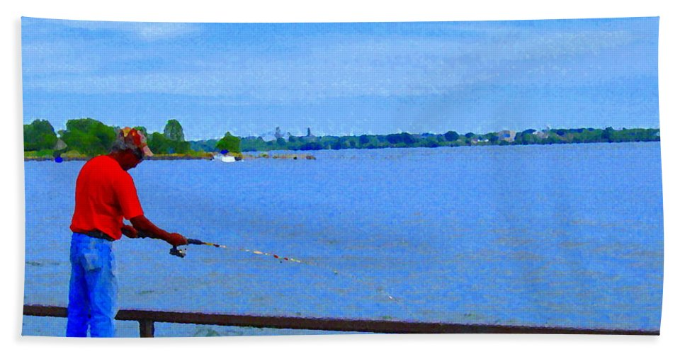 Fishing Hand Towel featuring the painting Sky Blue Calm Waters Fisherman On The Pier Lachine Canal Montreal Summer Scenes Carole Spandau by Carole Spandau