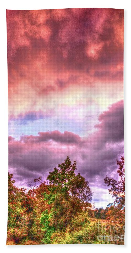 Background Bath Sheet featuring the photograph Sky Fire 2 by Dan Stone