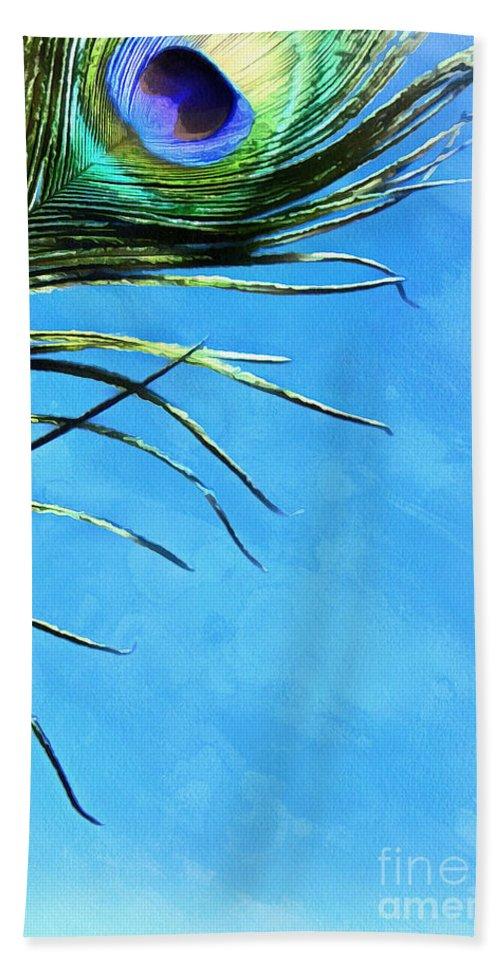 Peacock Feather Hand Towel featuring the digital art Sky Flight by Krissy Katsimbras