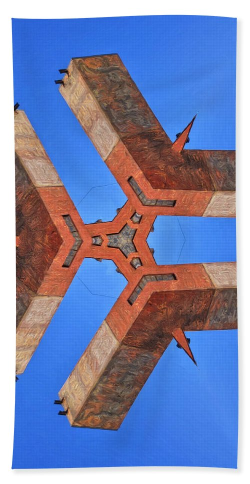 Sky Fortress Bath Sheet featuring the painting Sky Fortress Progression 8 by Dominic Piperata