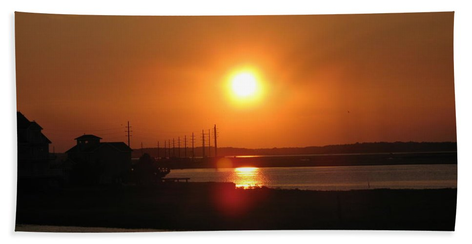 Sunset Bath Sheet featuring the photograph Sky On Fire Over Chincoteague Island by Christiane Schulze Art And Photography
