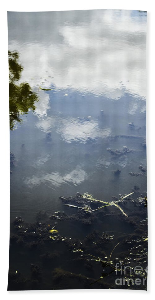 Sky; Water; Reflections; Lake; Pond; Clouds; Cloudy; Trees; Side; Debris; Grasses; Mud; Abstract; View; Lovely; Serene; Pretty; Moss; Algae; Reflecting; Ripples; Shallow Hand Towel featuring the photograph Sky Reflections by Margie Hurwich