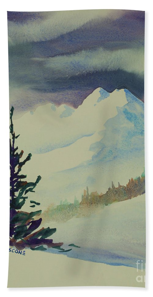 Sky Hand Towel featuring the painting Sky Shadows And Spruce by Teresa Ascone