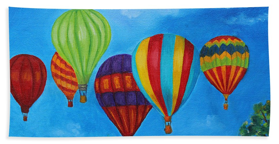 Hot Air Balloons Bath Sheet featuring the painting Sky Skittles by Julie Brugh Riffey