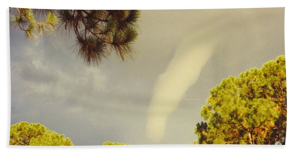Tornado Formed Bath Sheet featuring the photograph skyscape - Tornado Formed by Robert Floyd