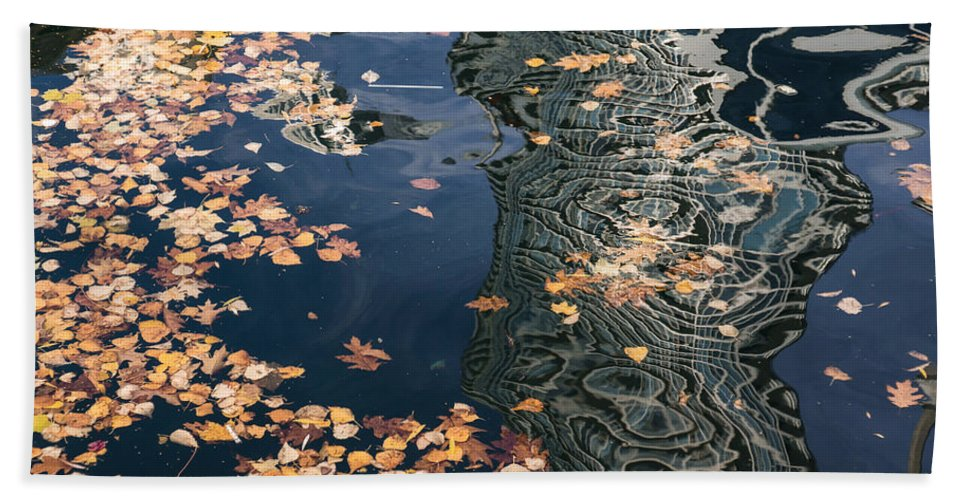 Abstract Bath Sheet featuring the photograph Skyscrapers' Reflections And Fallen Autumn Leaves by Georgia Mizuleva
