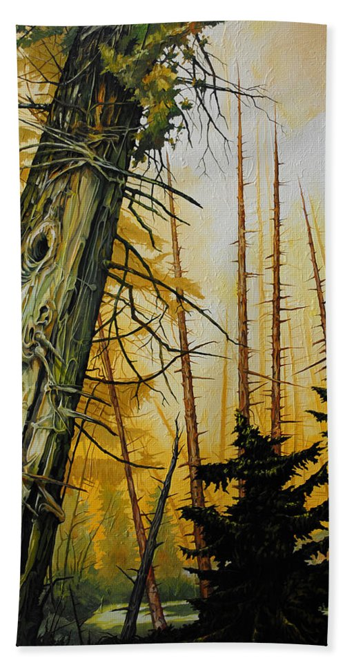 Trees Bath Sheet featuring the painting Skyward by Chris Steinken