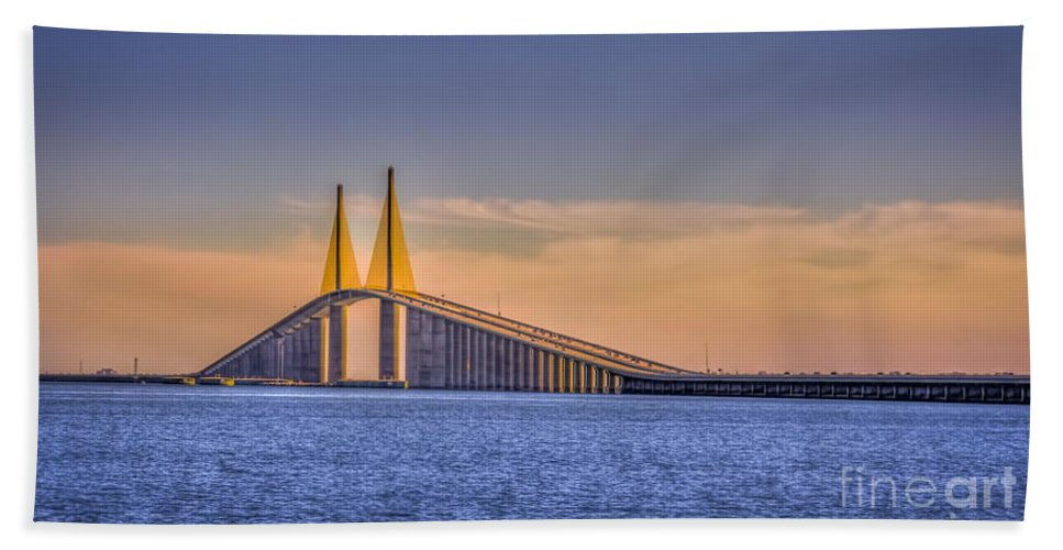 Skyway Bridge Hand Towel featuring the photograph Skyway Bridge by Marvin Spates
