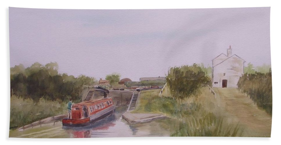 Impressionism Hand Towel featuring the painting Slapton Lock by Martin Howard