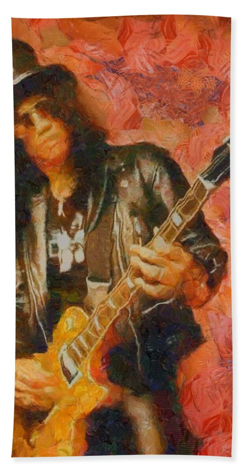 Slash Shredding On Guitar Hand Towel featuring the painting Slash Shredding On Guitar by Dan Sproul