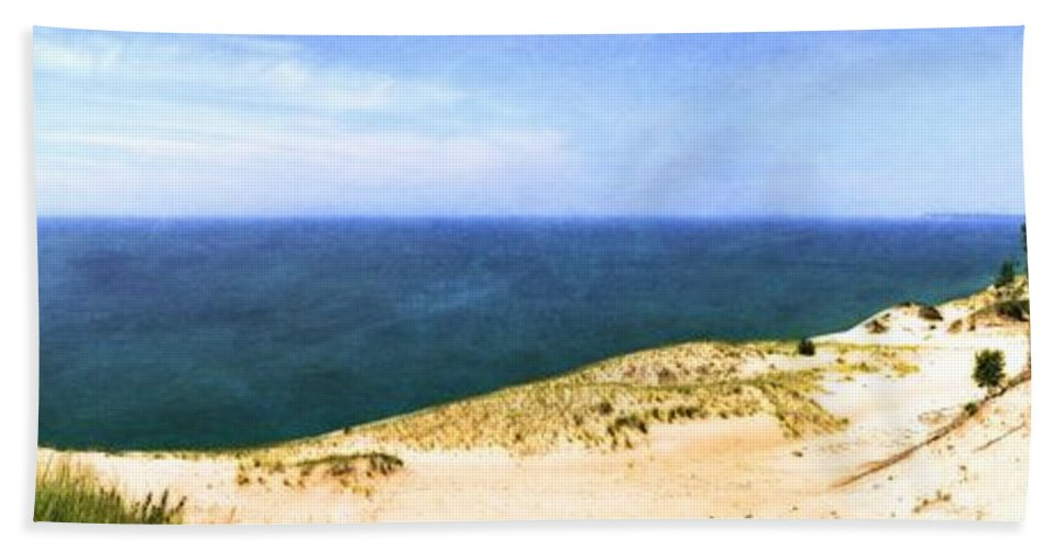 Sleeping Bear Dunes National Lakeshore Hand Towel featuring the photograph Sleeping Bear Dunes Panorama by Michelle Calkins