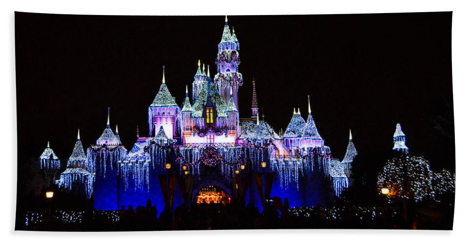 Disneyland Bath Sheet featuring the photograph Sleeping Beauties Castle At Christmas by Tommy Anderson