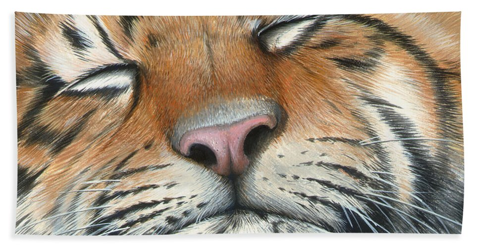 Tiger Hand Towel featuring the painting Sleeping Beauty by Mike Brown