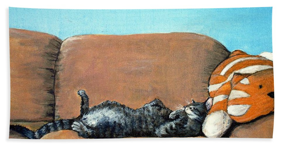 Calm Bath Towel featuring the painting Sleeping Cat by Anastasiya Malakhova