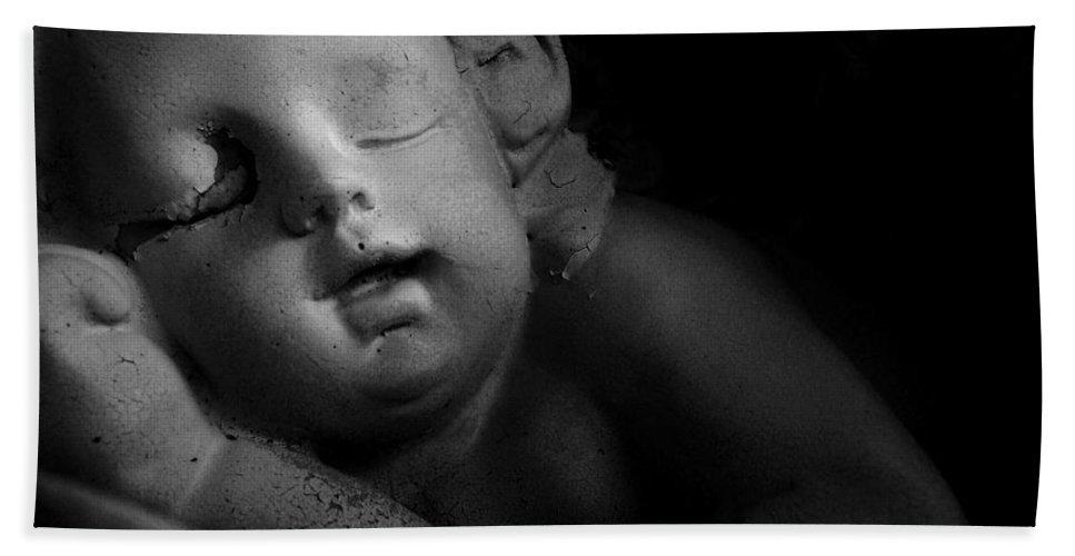Sleeping Cherub Garden Stauary Hand Towel featuring the photograph Sleeping Cherub #1bw by Robert ONeil