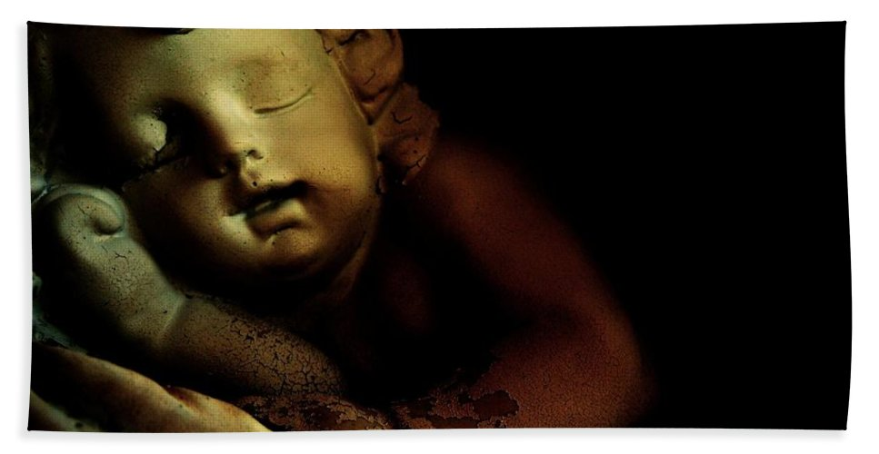 Sleeping Cherub Garden Stauary Hand Towel featuring the photograph Sleeping Cherub #2 by Robert ONeil