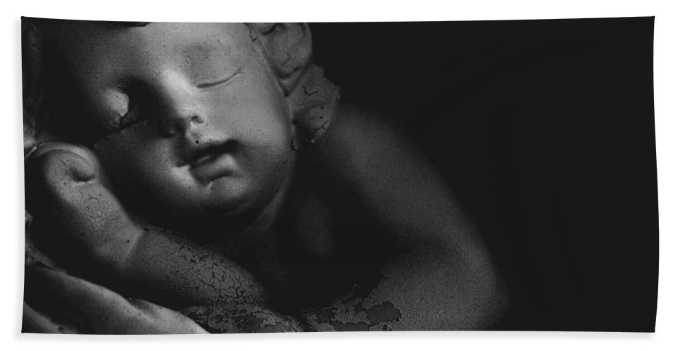 Sleeping Cherub Garden Stauary Hand Towel featuring the photograph Sleeping Cherub #2bw by Robert ONeil