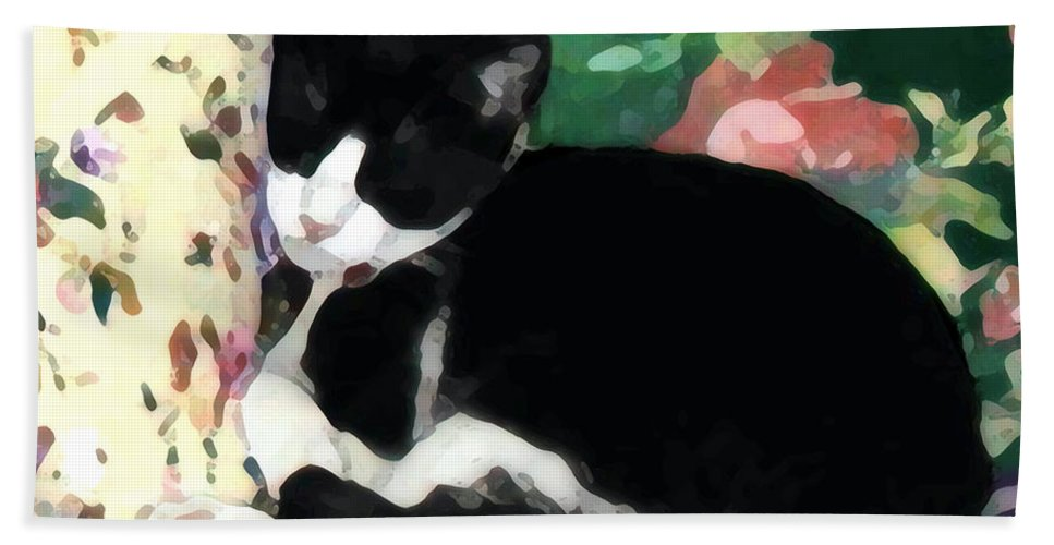 Black And White Hand Towel featuring the photograph Sleeping Kitty by Jeanne A Martin