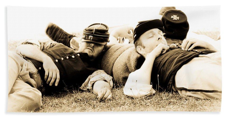 Civil War Bath Sheet featuring the photograph Sleeping Soldiers by Athena Mckinzie