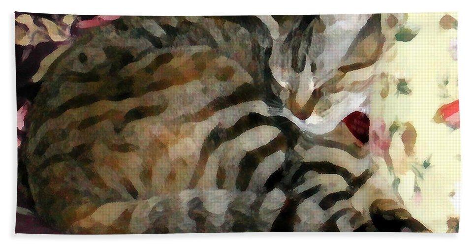Tabby Cat Bath Sheet featuring the photograph Sleeping Tabby by Jeanne A Martin