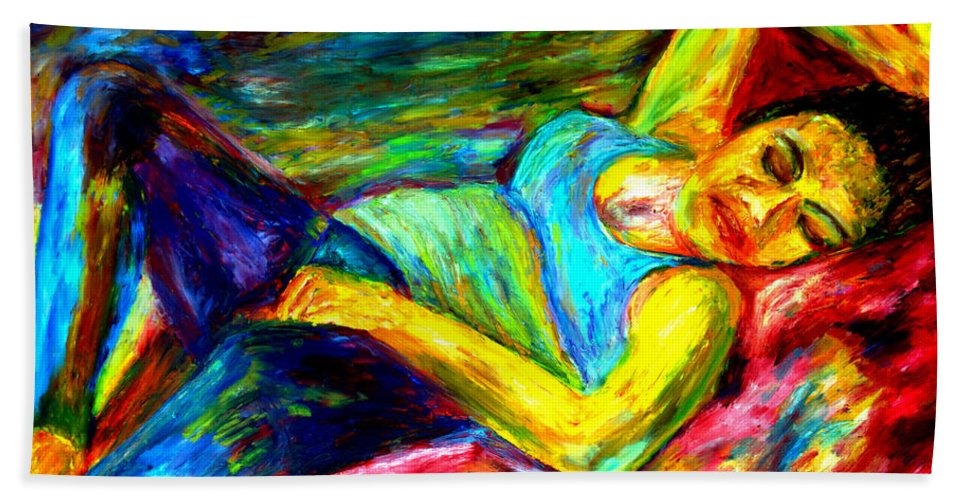 Sleeping Woman Hand Towel featuring the painting Sleeping Woman by Rachid Hatni