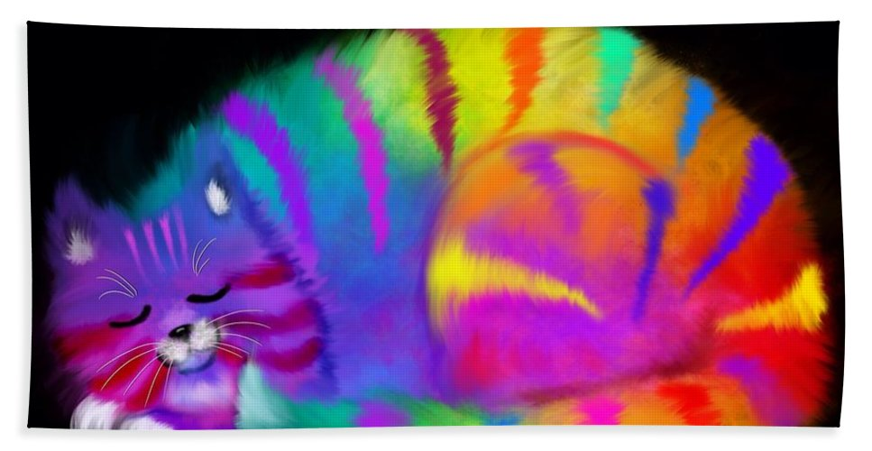 Cat Hand Towel featuring the painting Sleepy Colorful Cat by Nick Gustafson