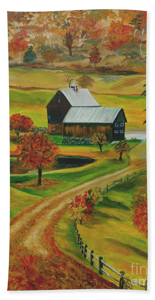 Farm Hand Towel featuring the painting Sleepy Hollow Farm by Julie Brugh Riffey