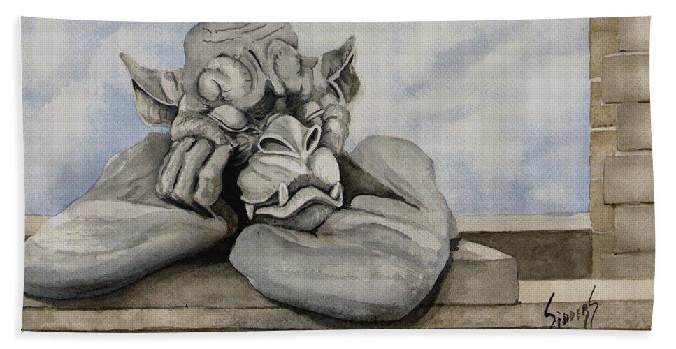 Gargoyle Bath Sheet featuring the painting Sleepy by Sam Sidders