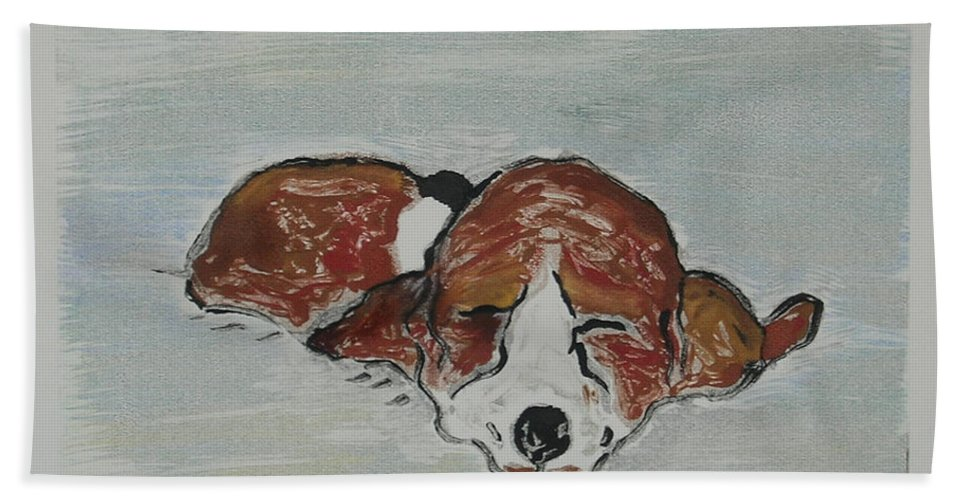 Basset Hound Hand Towel featuring the mixed media Sleepyhead by Cori Solomon