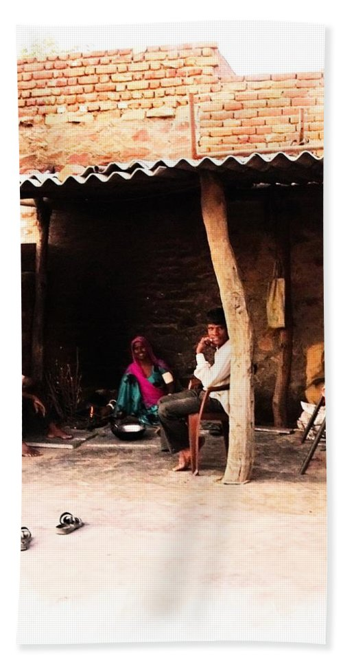 Slice Of Life Hand Towel featuring the photograph Slice Of Life Mud Oven Chulha Tandoor Indian Village Rajasthani 1b by Sue Jacobi