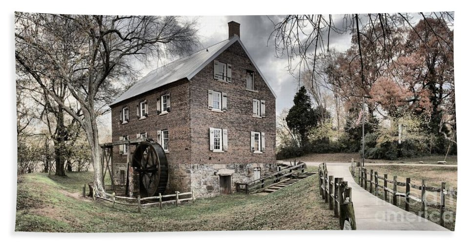 Grist Mill Bath Sheet featuring the photograph Sloan Park Walkway To The Past by Adam Jewell