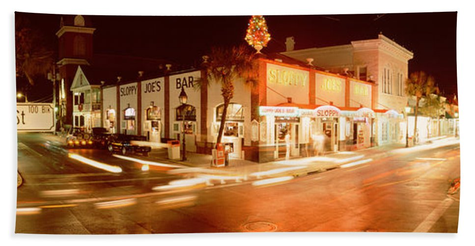 Photography Bath Towel featuring the photograph Sloppy Joes Bar, Duval Street, Key by Panoramic Images