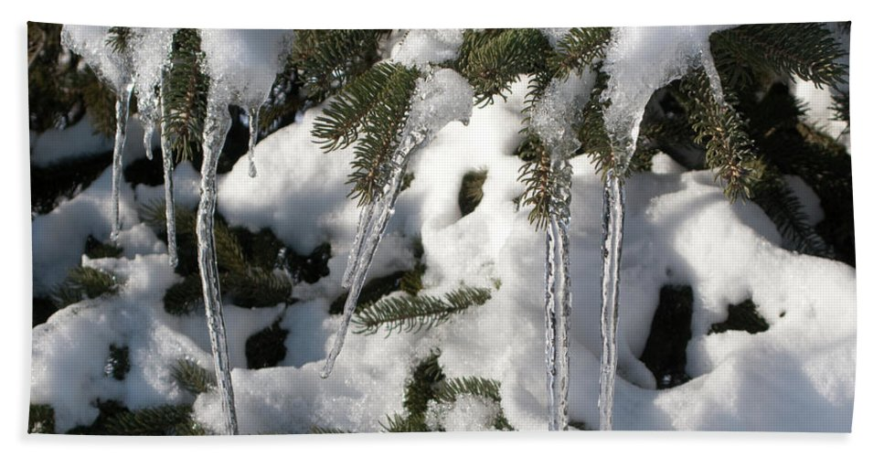 Winter Hand Towel featuring the photograph Slow Snow Melt by Ann Horn